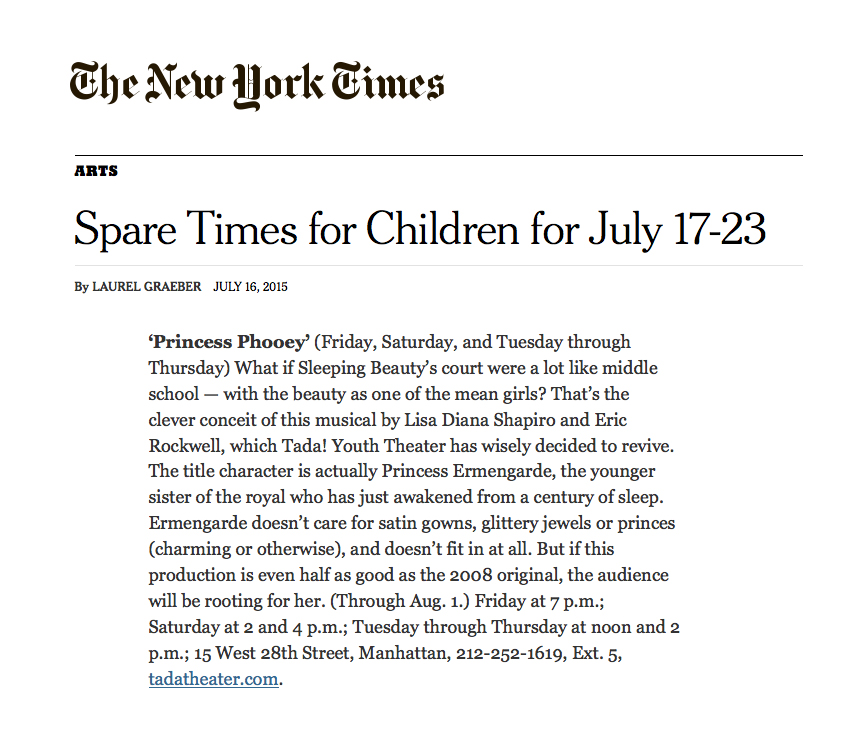 NY times spare times blurb